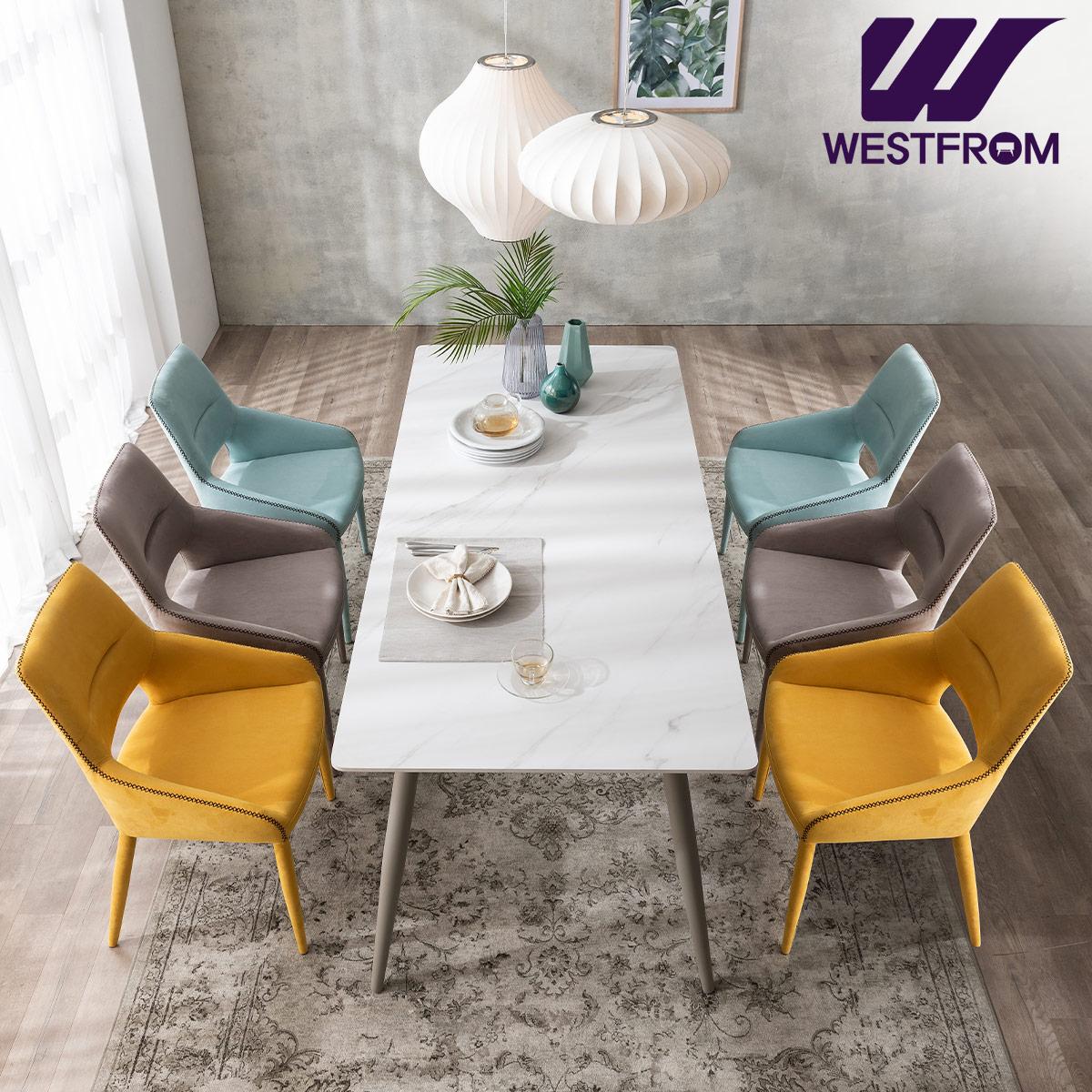 [웨스트프롬] 라클리 이지클린 6인 포세린 세라믹 식탁 + 의자 6개