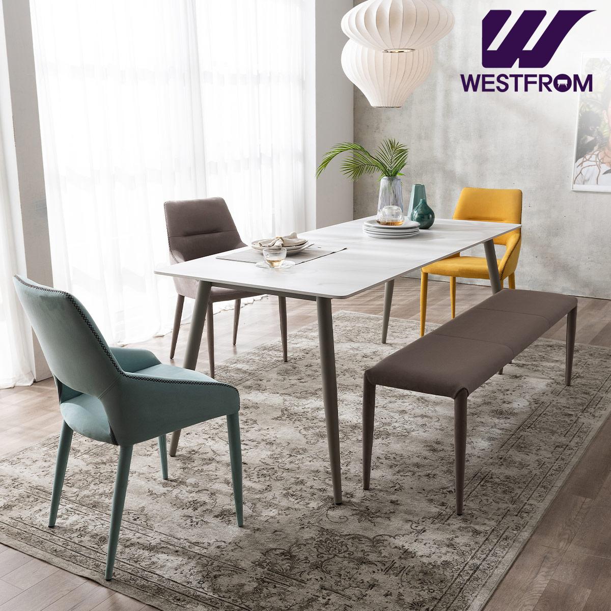 [웨스트프롬] 라클리 이지클린 6인 포세린 세라믹 식탁 + 의자 3개, 벤치 1개