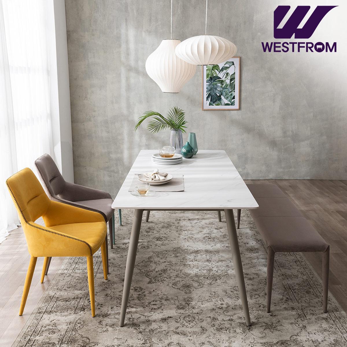 [웨스트프롬] 라클리 이지클린 4인 포세린 세라믹 식탁 + 의자 2개, 벤치 1개