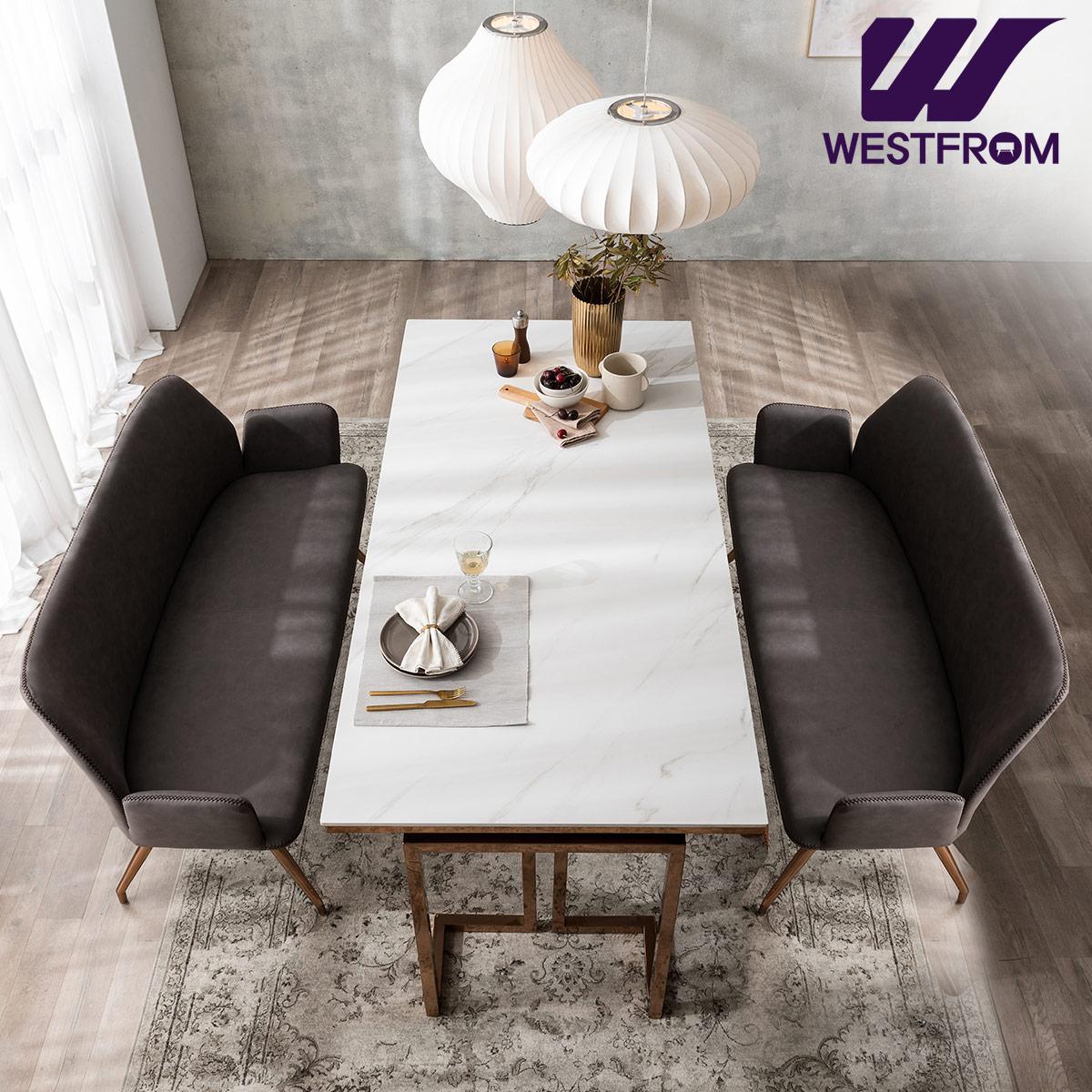 [웨스트프롬] 르노블 6인 포세린 세라믹 식탁 + 벤치 2개