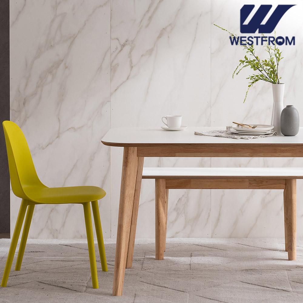 [웨스트프롬] 모던 에스메랄다) 1600 원목 라운드 테이블(식탁) + 벤치 2개