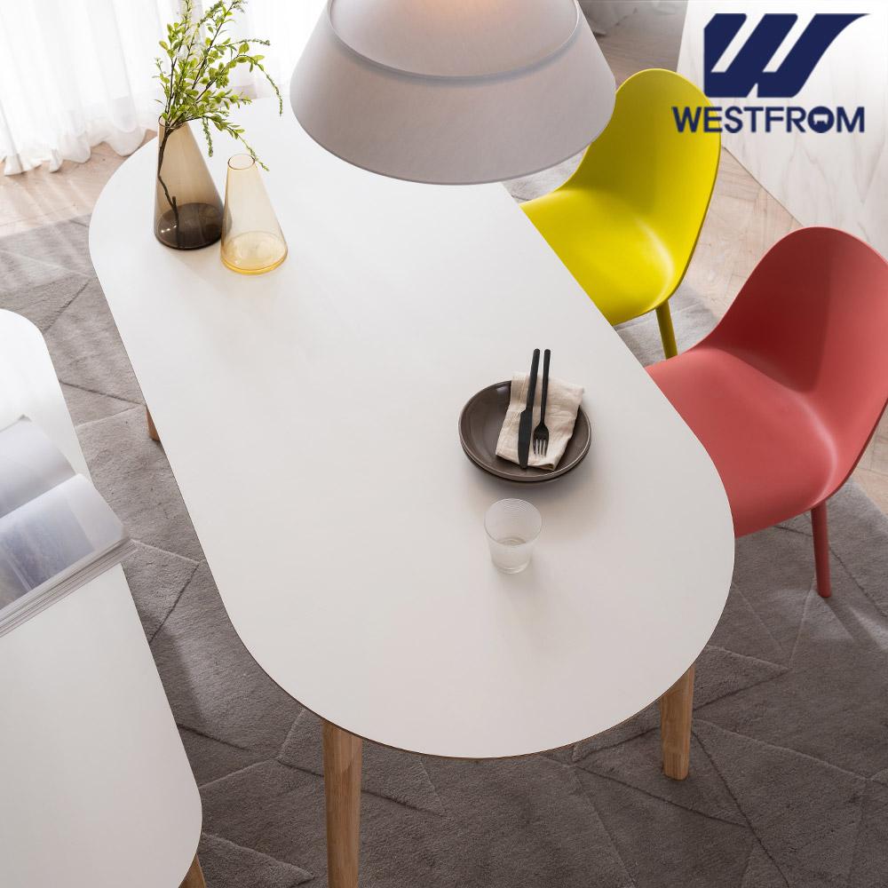 [웨스트프롬] 모던 에스메랄다) 1600 원목 타원형 테이블(식탁) + 체어 2개, 벤치 1개
