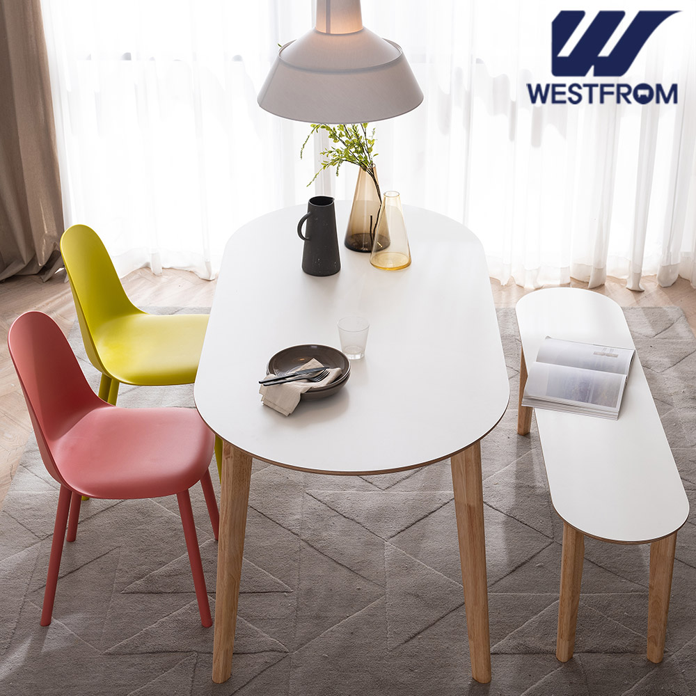 [웨스트프롬] 모던 에스메랄다) 1600 원목 타원형 테이블(식탁) + 벤치 2개