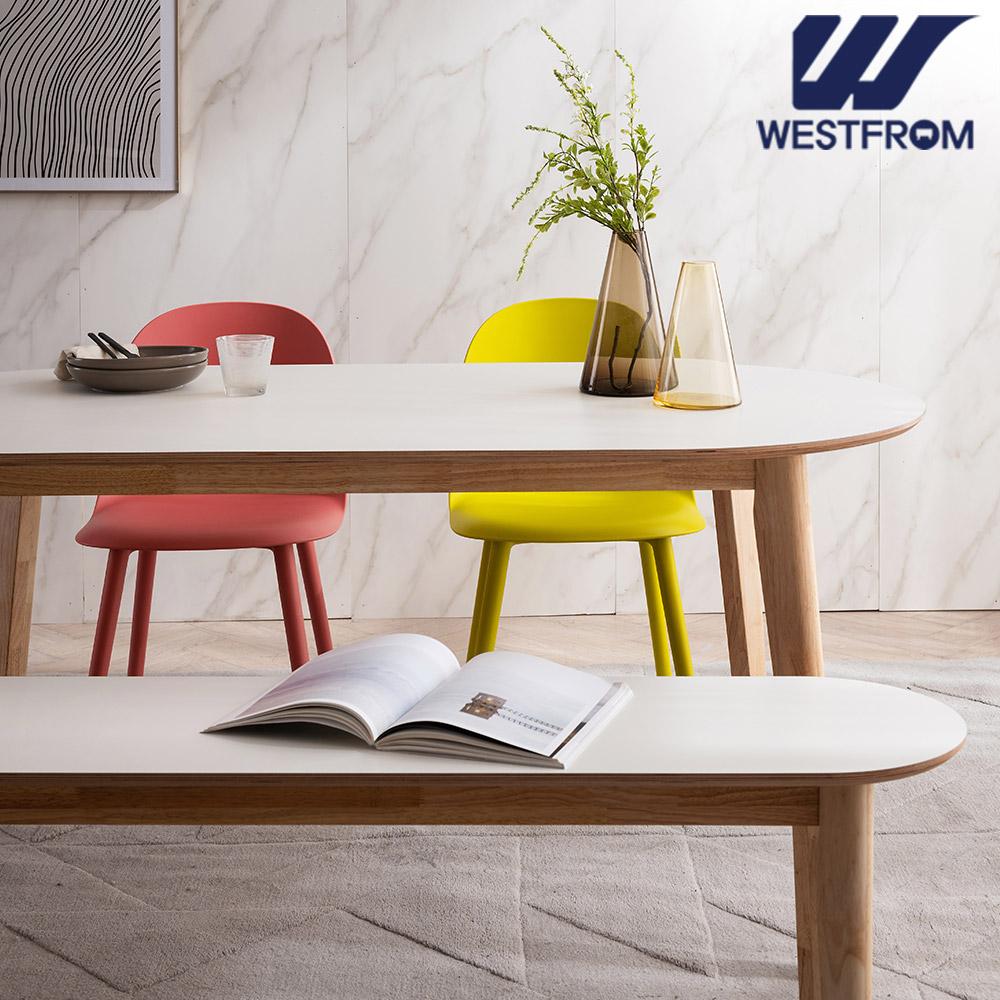 [웨스트프롬] 모던 에스메랄다) 1800 원목 타원형 테이블(식탁) + 체어 2개, 벤치 1개