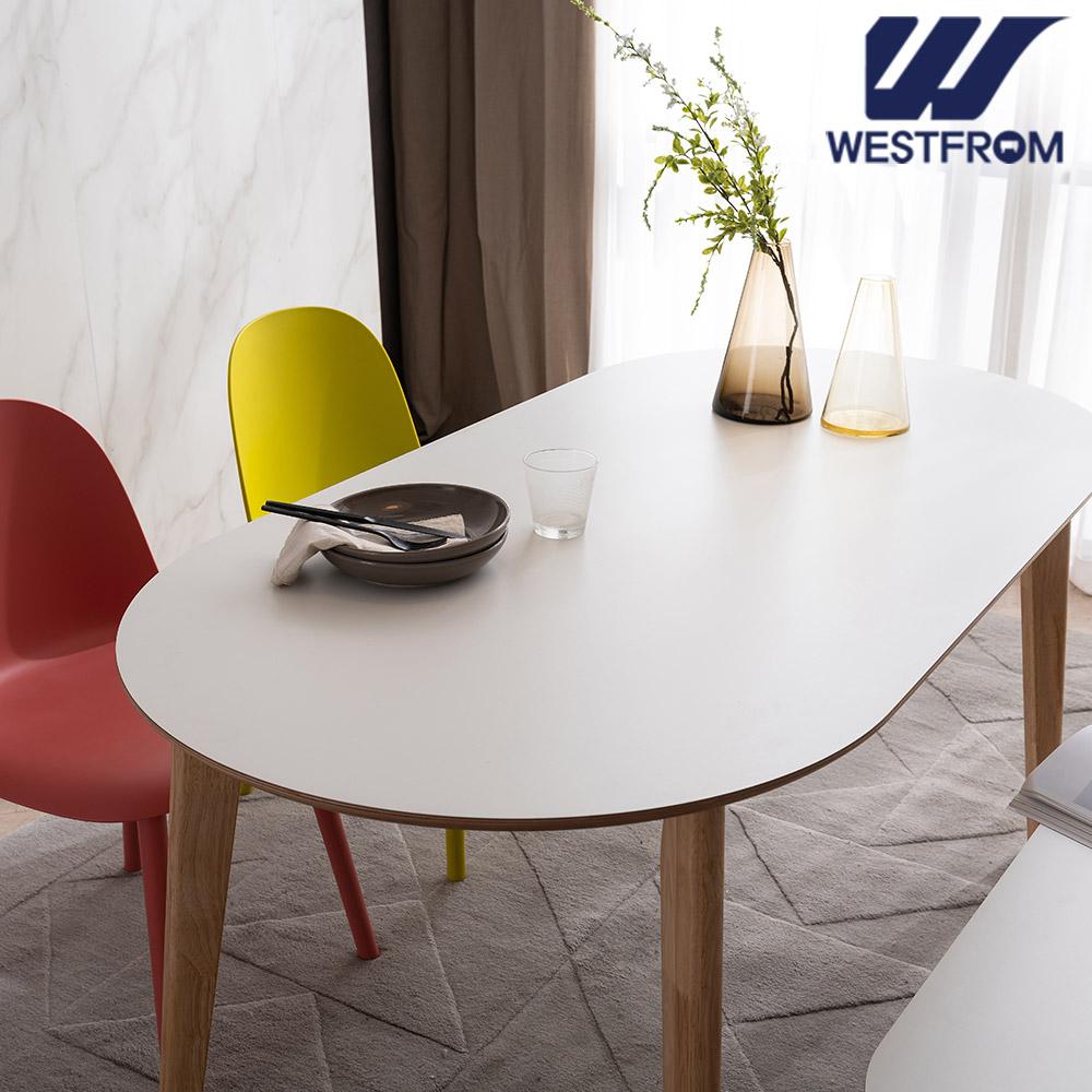 [웨스트프롬] 모던 에스메랄다) 1800 원목 타원형 테이블(식탁) + 체어 4개