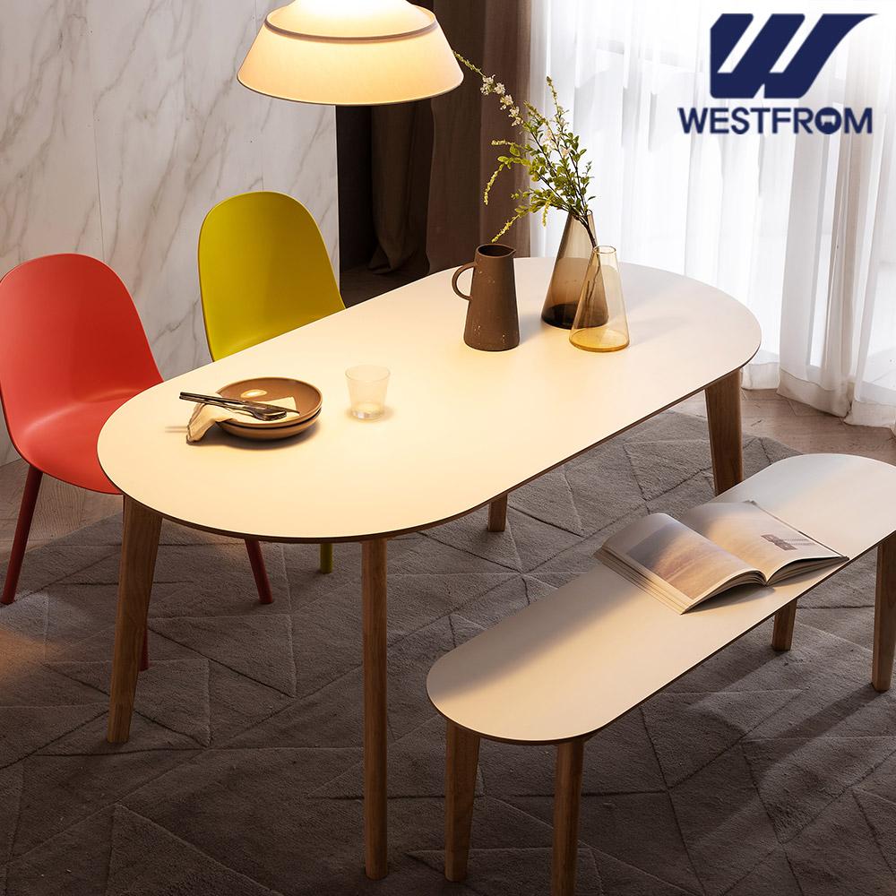 [웨스트프롬] 모던 에스메랄다) 1800 원목 타원형 테이블(식탁) + 벤치 2개