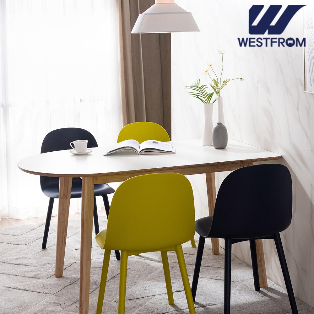 [웨스트프롬] 모던 에스메랄다) 1200 원목 반타원 테이블(식탁) + 체어 2개, 벤치 1개