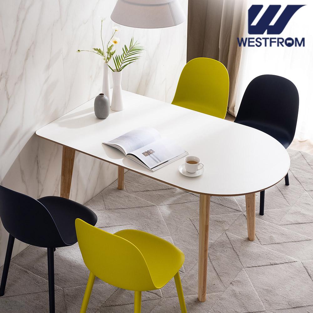 [웨스트프롬] 모던 에스메랄다) 1200 원목 반타원 테이블(식탁) + 체어 4개