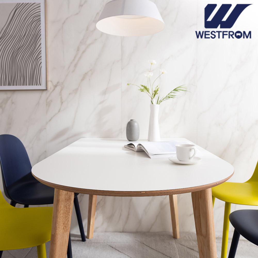 [웨스트프롬] 모던 에스메랄다) 1200 원목 반타원 테이블(식탁) + 벤치 2개