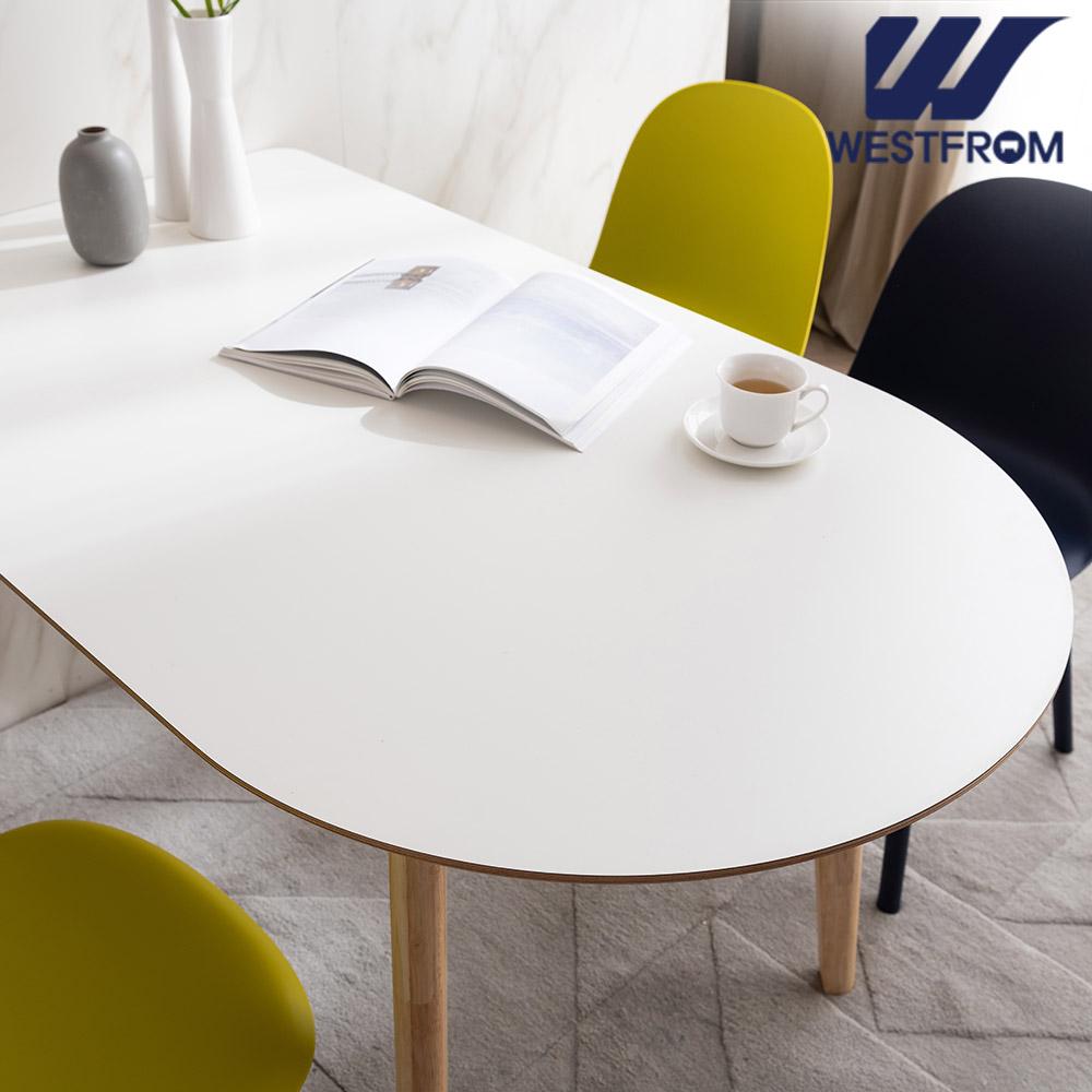 [웨스트프롬] 모던 에스메랄다) 1400 원목 반타원 테이블(식탁) + 벤치 2개