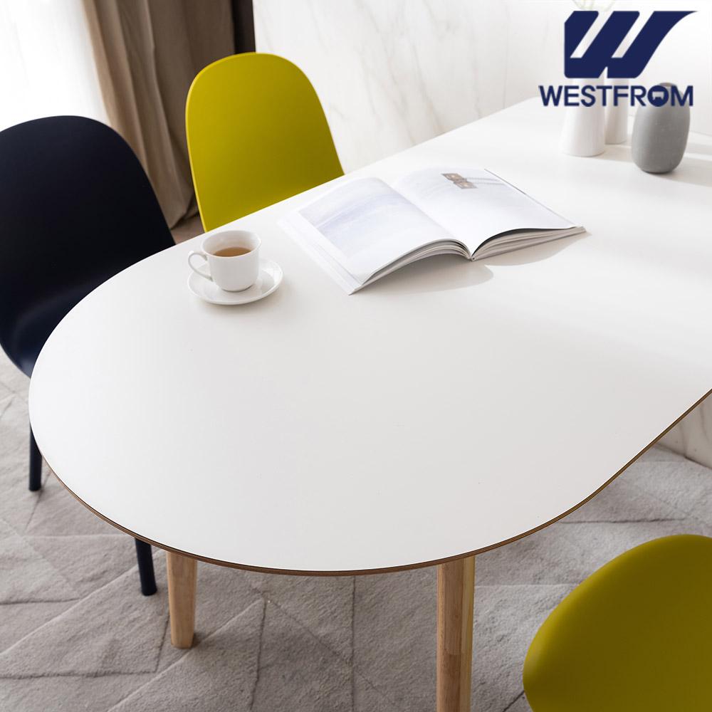 [웨스트프롬] 모던 에스메랄다) 1600 원목 반타원 테이블(식탁)