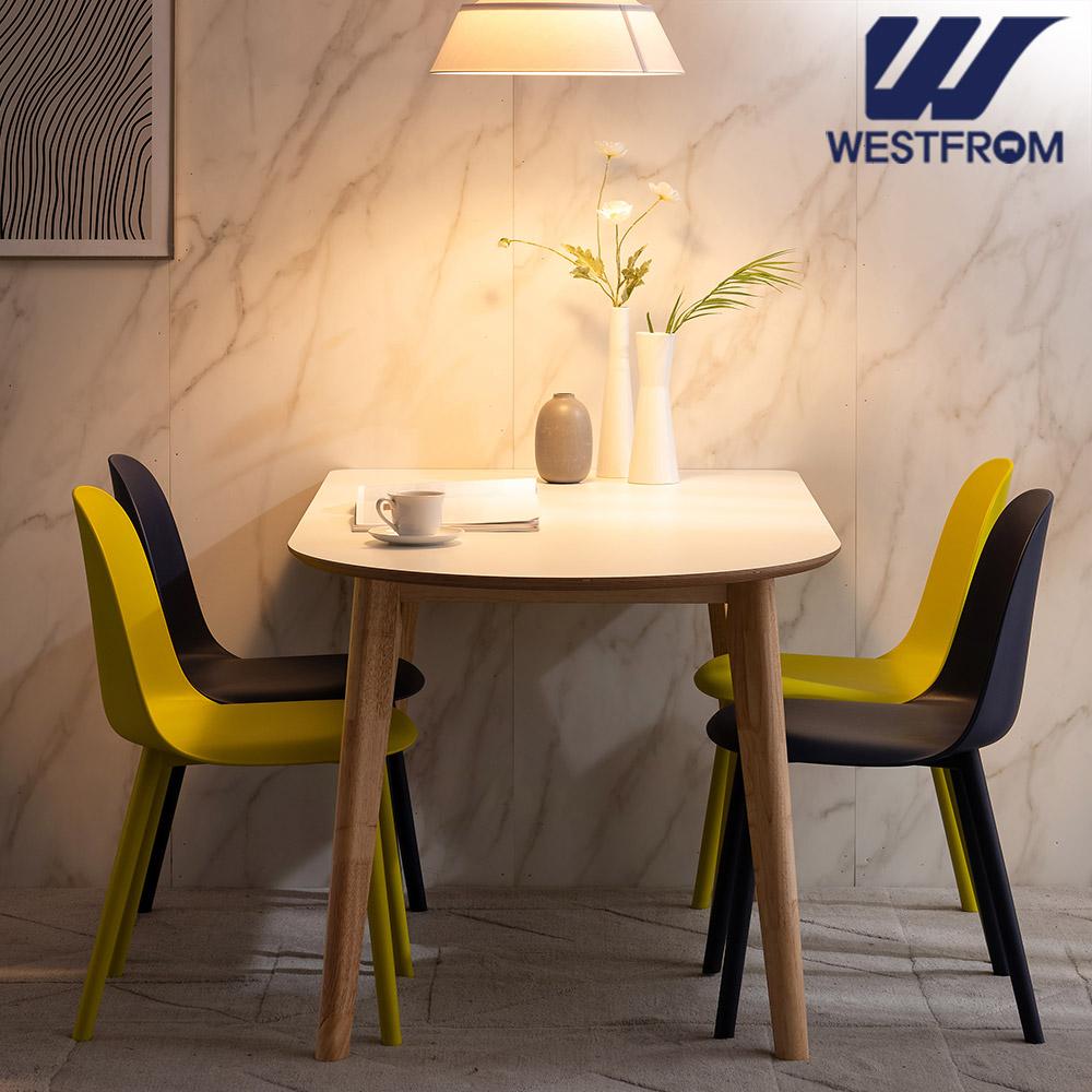 [웨스트프롬] 모던 에스메랄다) 1600 원목 반타원 테이블(식탁) + 벤치 2개