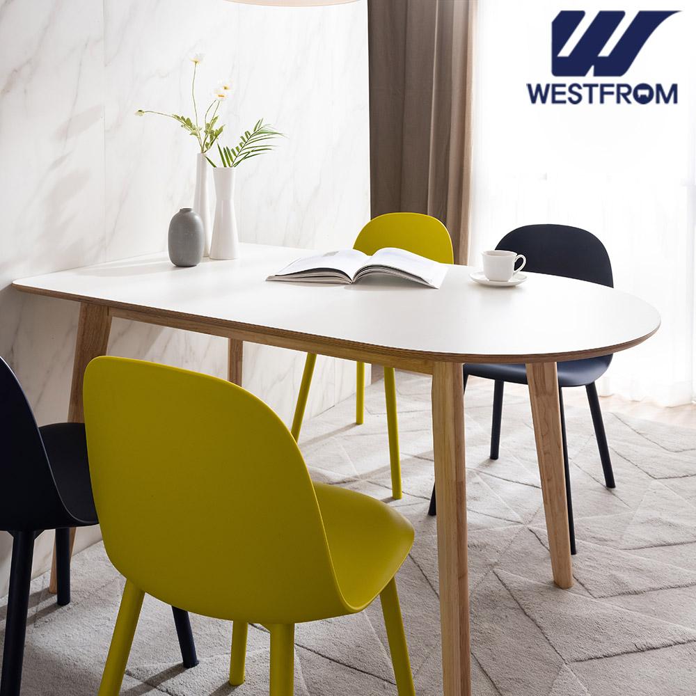 [웨스트프롬] 모던 에스메랄다) 1800 원목 반타원 테이블(식탁) + 체어 2개, 벤치 1개