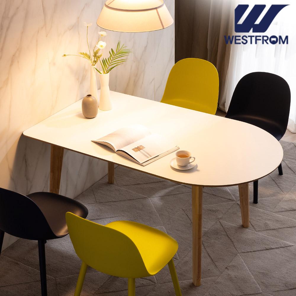 [웨스트프롬] 모던 에스메랄다) 1800 원목 반타원 테이블(식탁) + 체어 4개