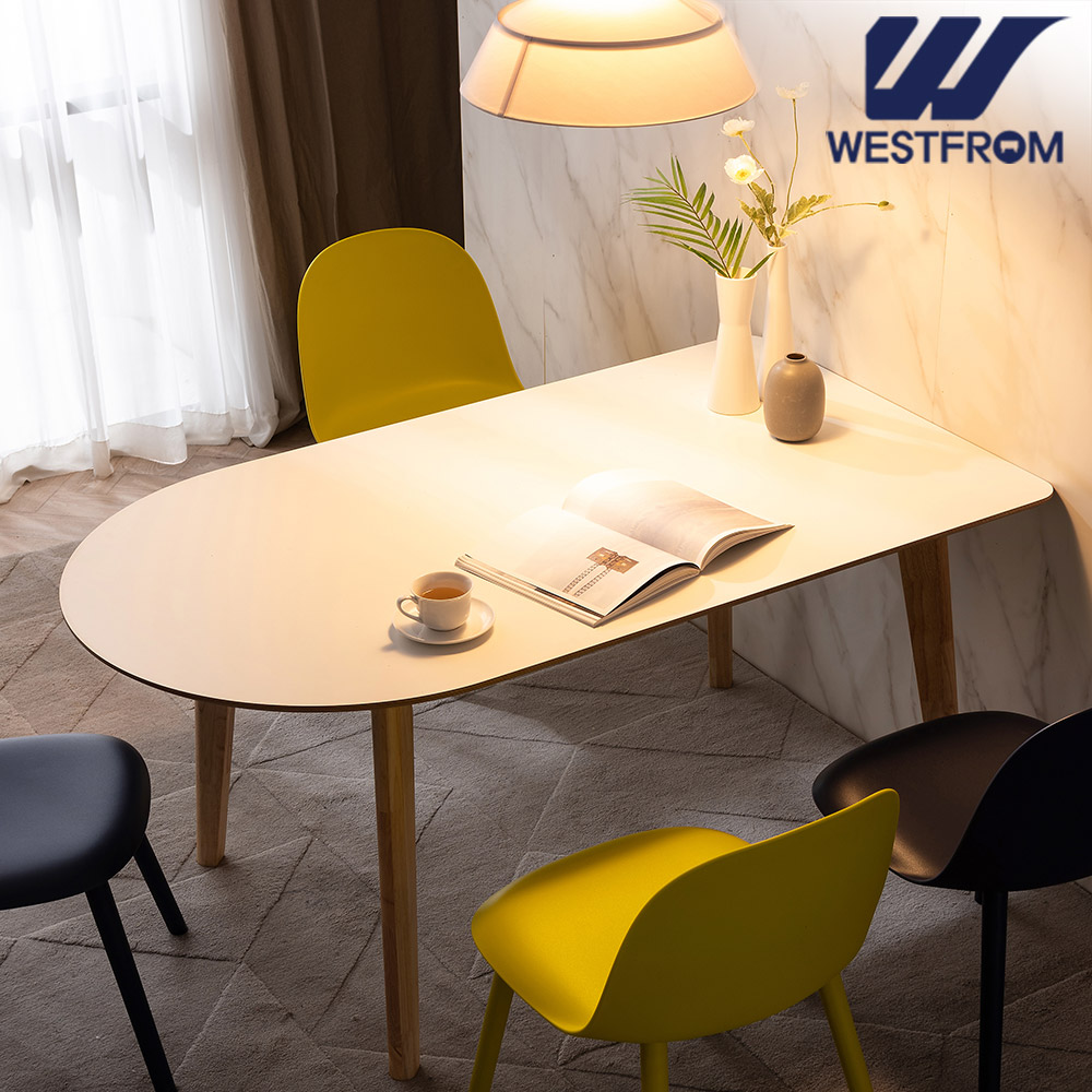 [웨스트프롬] 모던 에스메랄다) 1800 원목 반타원 테이블(식탁) + 벤치 2개