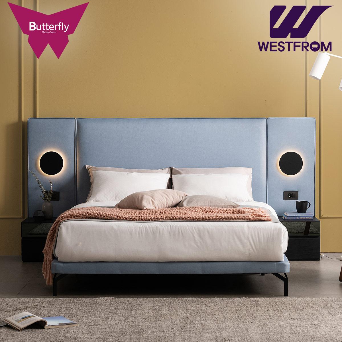 [웨스트프롬] 럭셔리 버터플라이) SPECIAL패브릭 TWO 매트리스 침대(퀸,킹 공용) / 프레임만