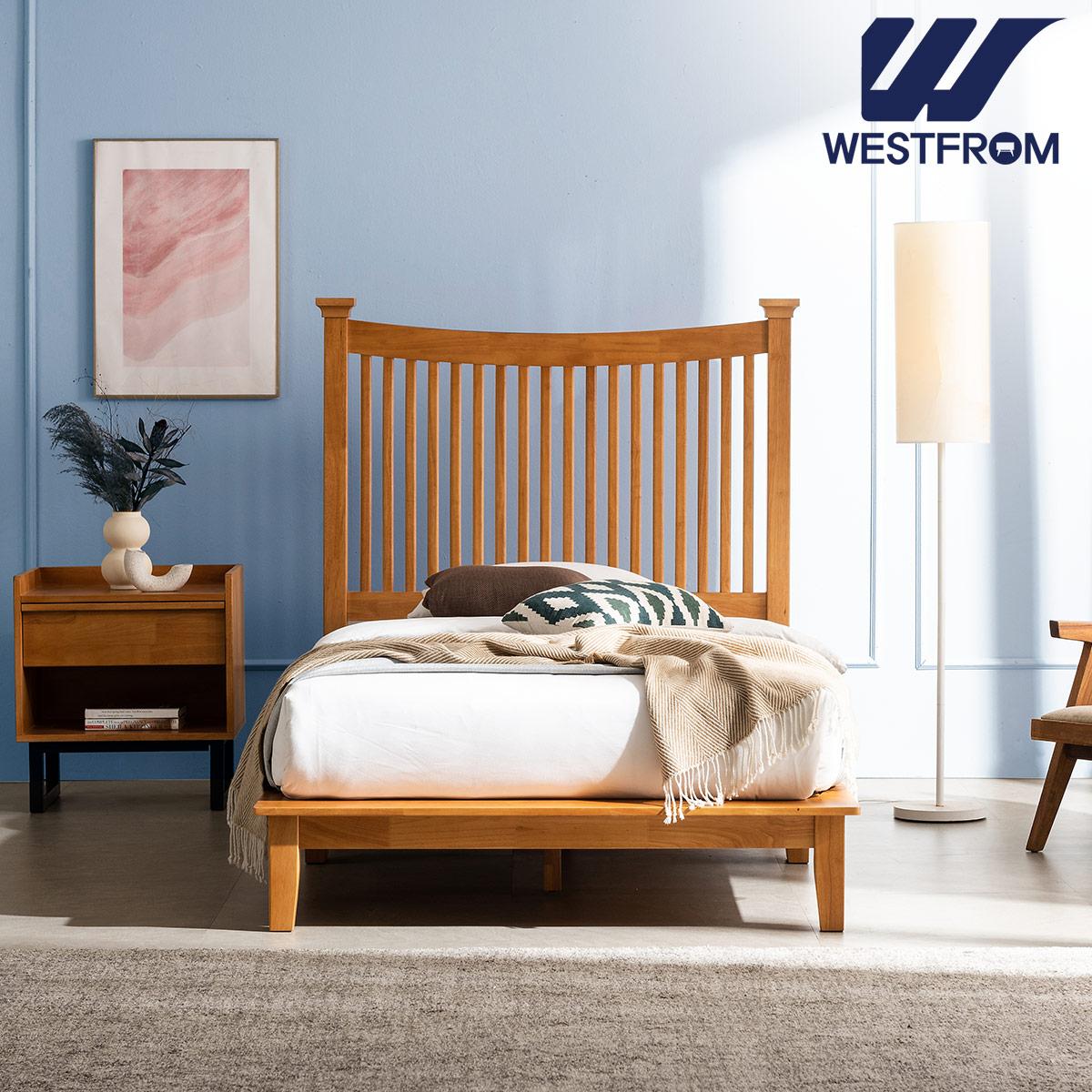 [웨스트프롬] 모던 마가렛) 고무나무원목 평상형 침대(SS) / 프레임만