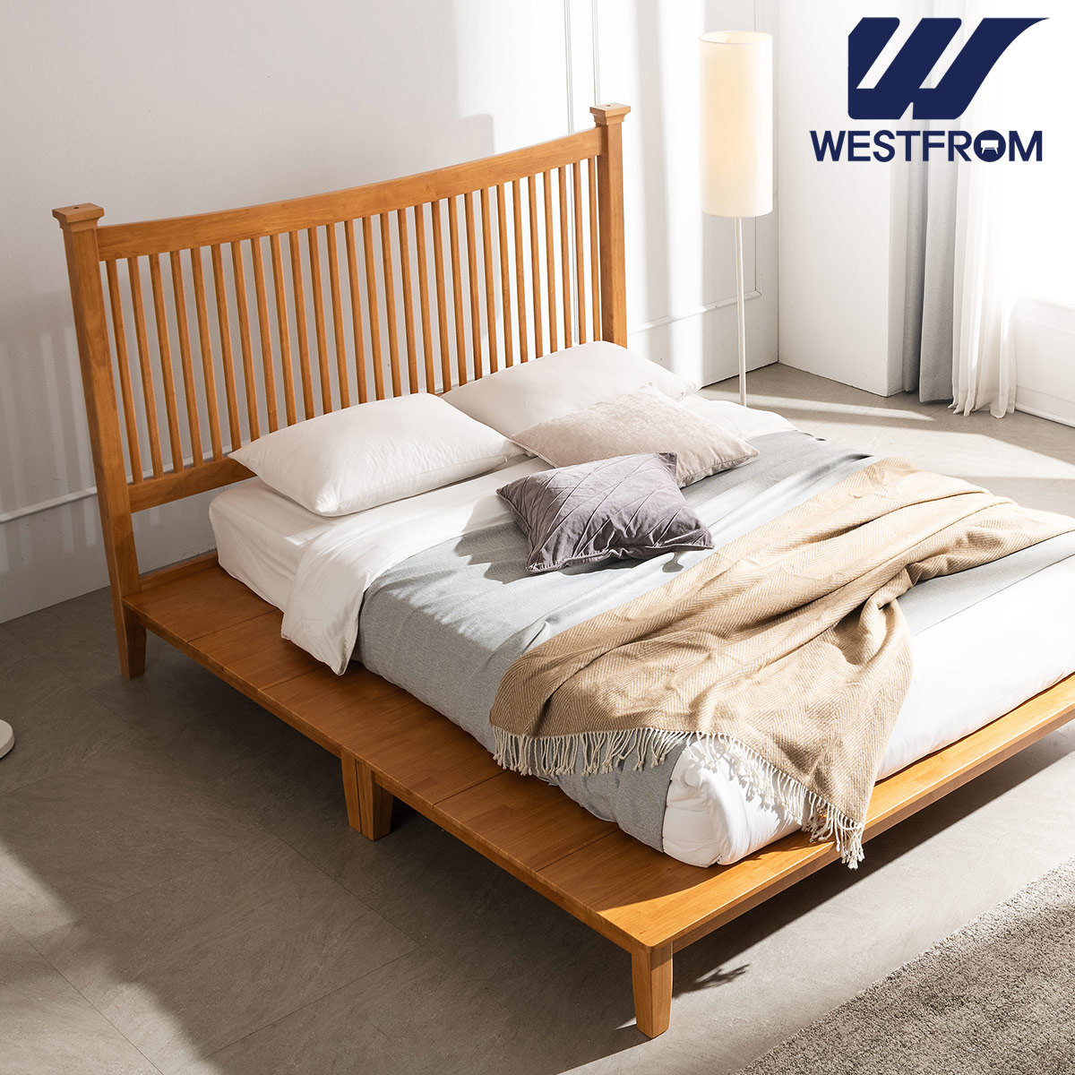 [웨스트프롬] 모던 마가렛) 고무나무원목 평상형 침대(Q,K공용) / 프레임만