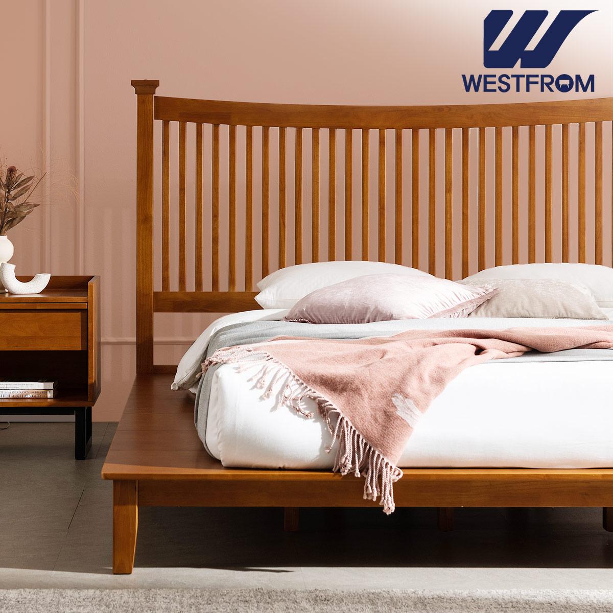 [웨스트프롬] 모던 마가렛) 고무나무원목 평상형 침대(라지K) / 프레임만