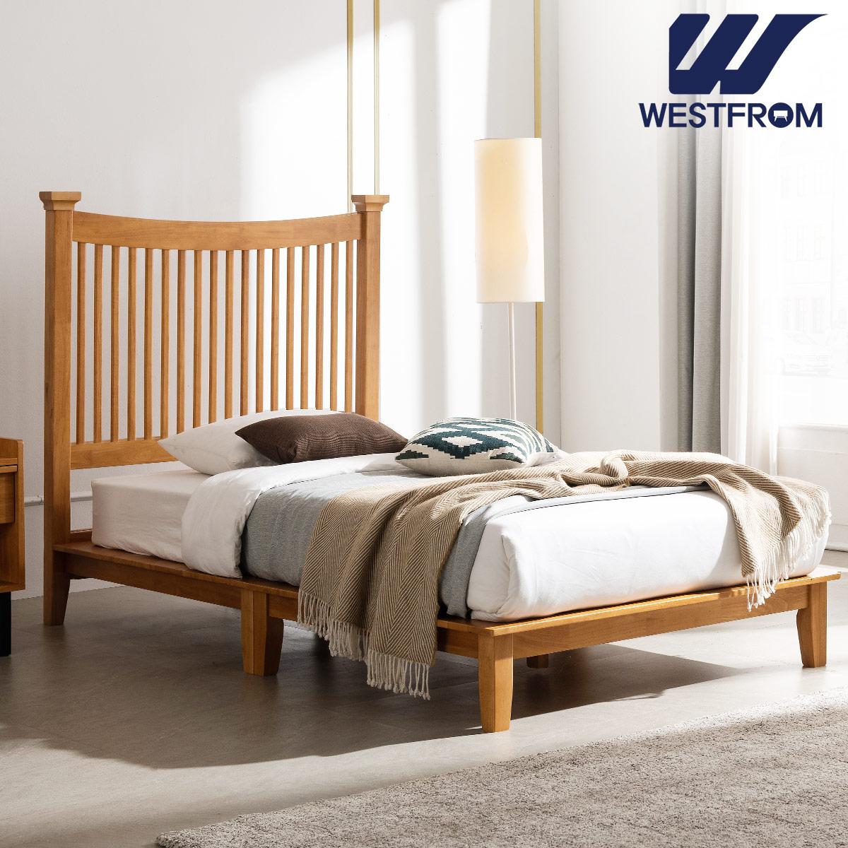 [웨스트프롬] 모던 마가렛) 고무나무원목 평상형 침대(SS) / F1 SS 매트리스