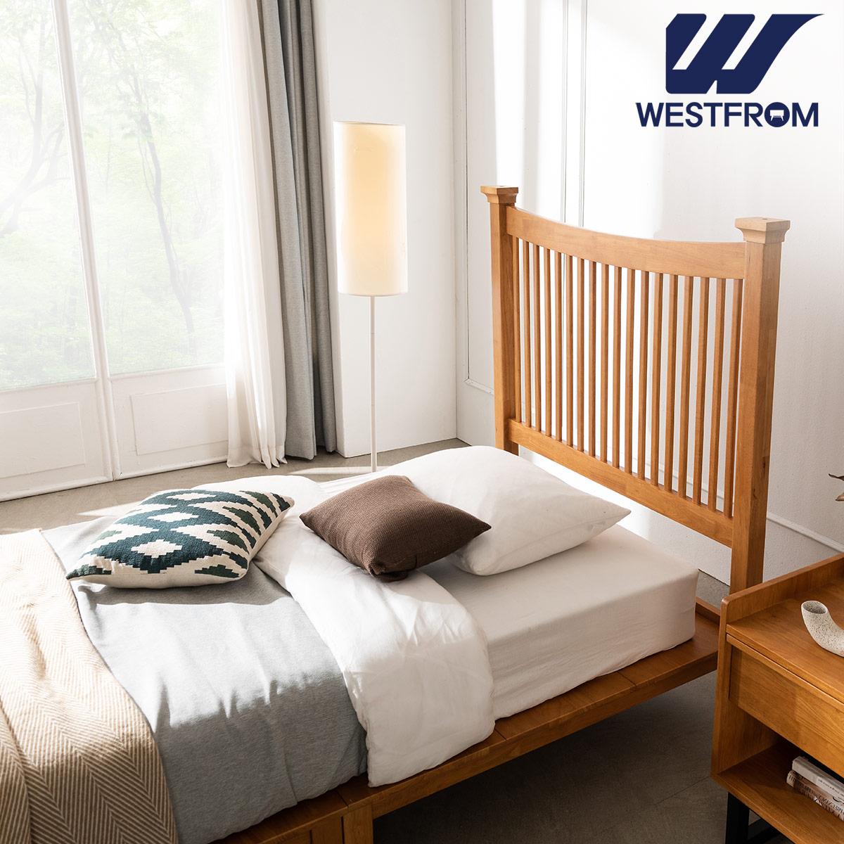 [웨스트프롬] 모던 마가렛) 고무나무원목 평상형 침대(SS) / F5 SS 매트리스