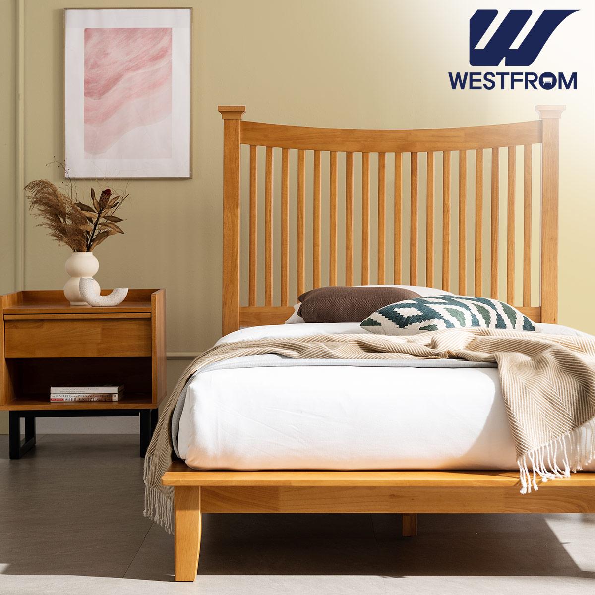 [웨스트프롬] 모던 마가렛) 고무나무원목 평상형 침대(SS) / F17 SS 매트리스