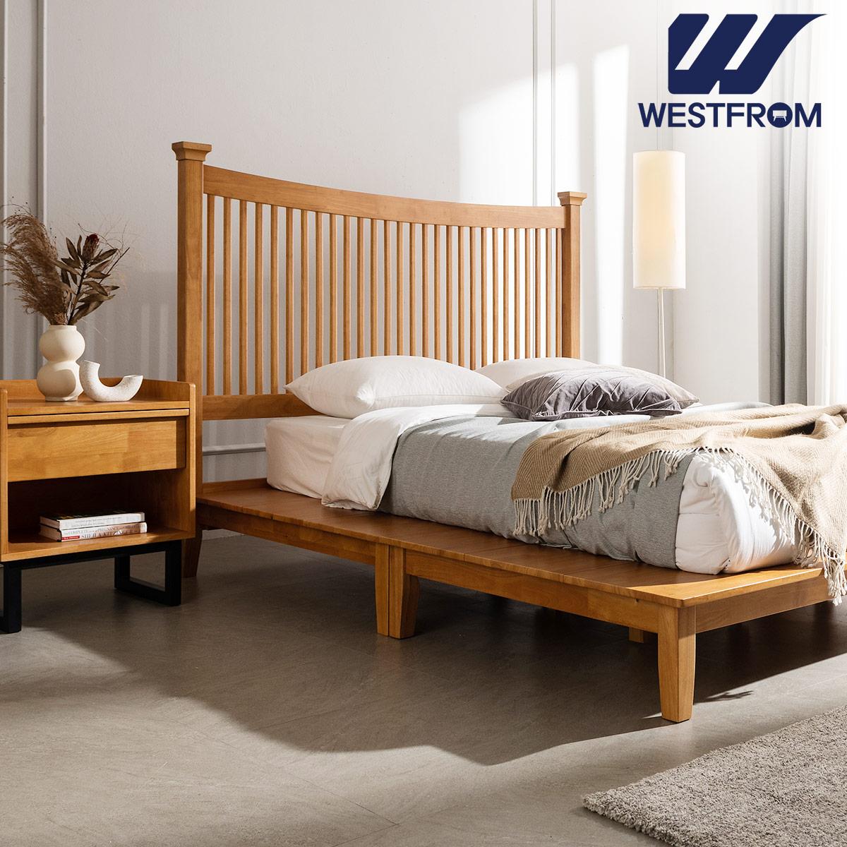 [웨스트프롬] 모던 마가렛) 고무나무원목 평상형 침대(Q,K공용) / 텐더 호수 SS매트리스 / 전국착불