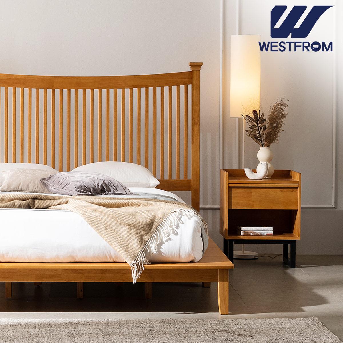 [웨스트프롬] 모던 마가렛) 고무나무원목 평상형 침대(Q,K공용) / 텐더 리버 SS매트리스 / 전국착불