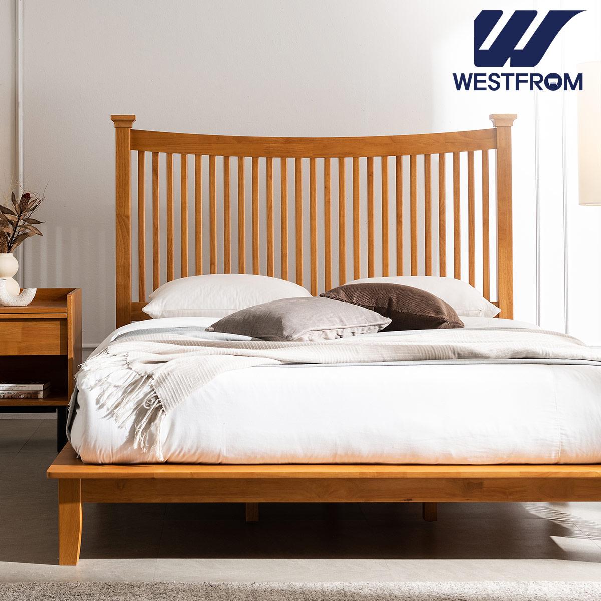 [웨스트프롬] 모던 마가렛) 고무나무원목 평상형 침대(Q,K공용) / F3 QUEEN 매트리스