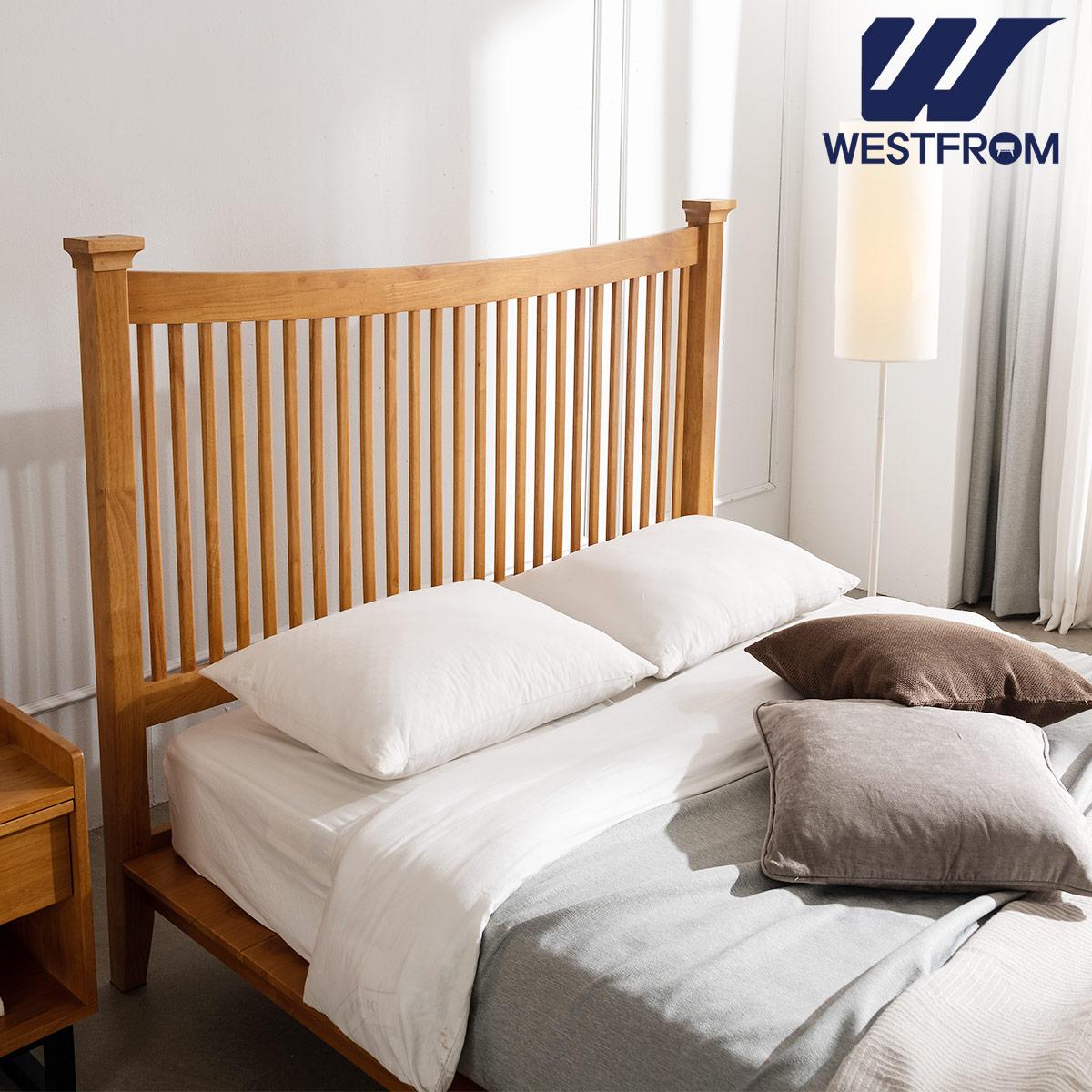 [웨스트프롬] 모던 마가렛) 고무나무원목 평상형 침대(Q,K공용) / 텐더 리버 Q매트리스 / 전국착불