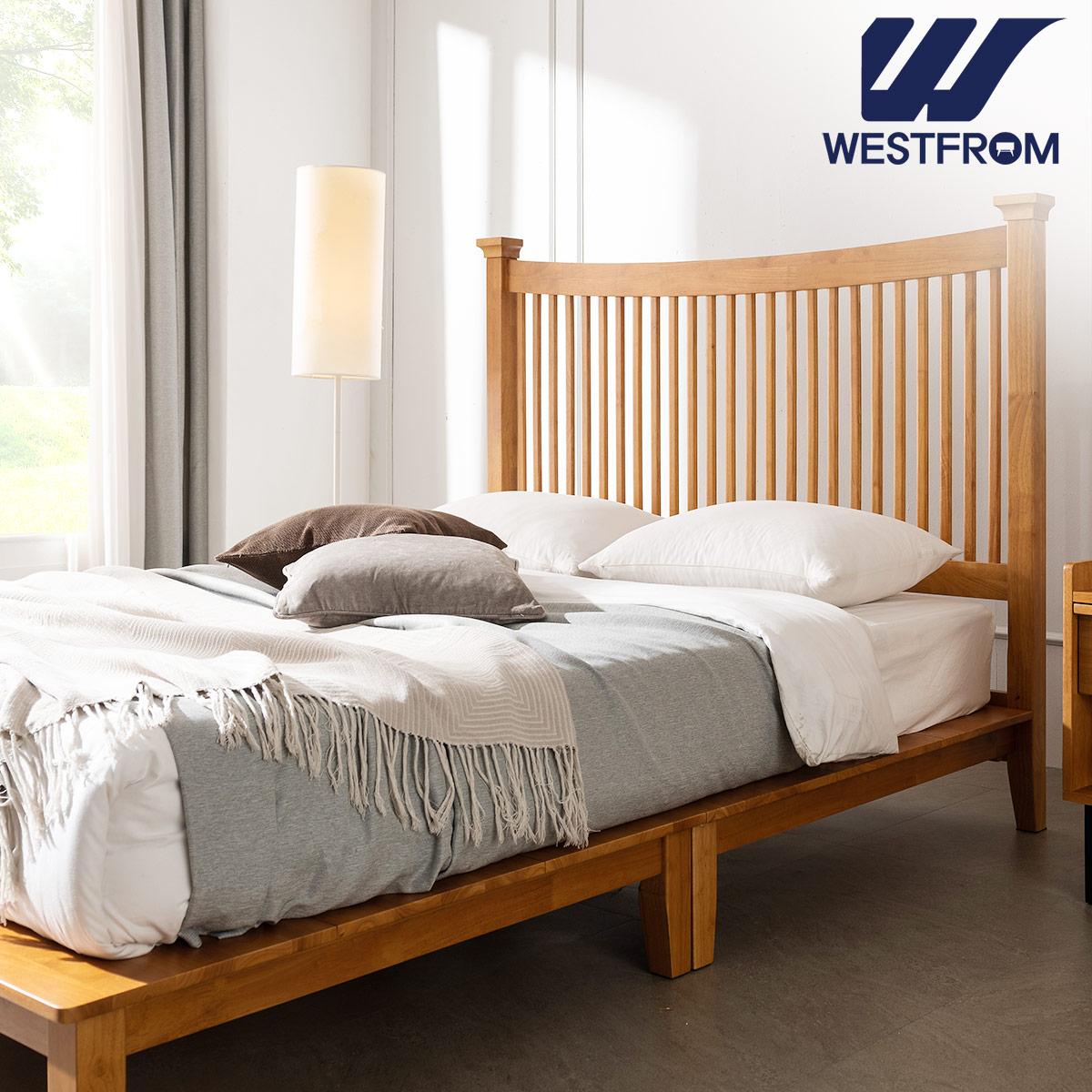 [웨스트프롬] 모던 마가렛) 고무나무원목 평상형 침대(Q,K공용) / 텐더 호수 K매트리스 / 전국착불