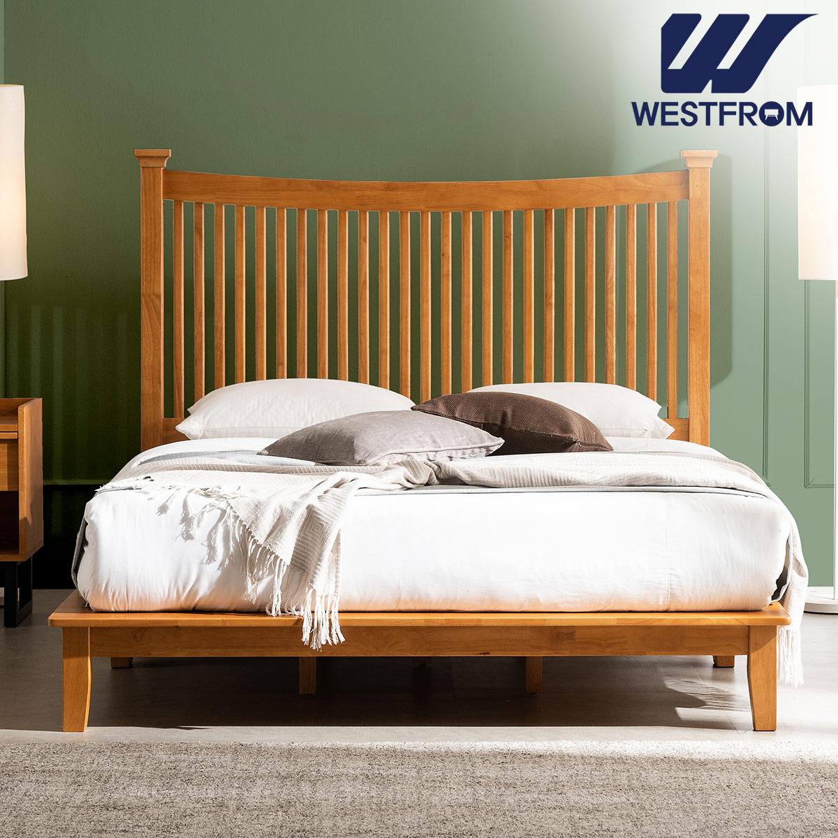 [웨스트프롬] 모던 마가렛) 고무나무원목 평상형 침대(Q,K공용) / 텐더 리버 K매트리스 / 전국착불