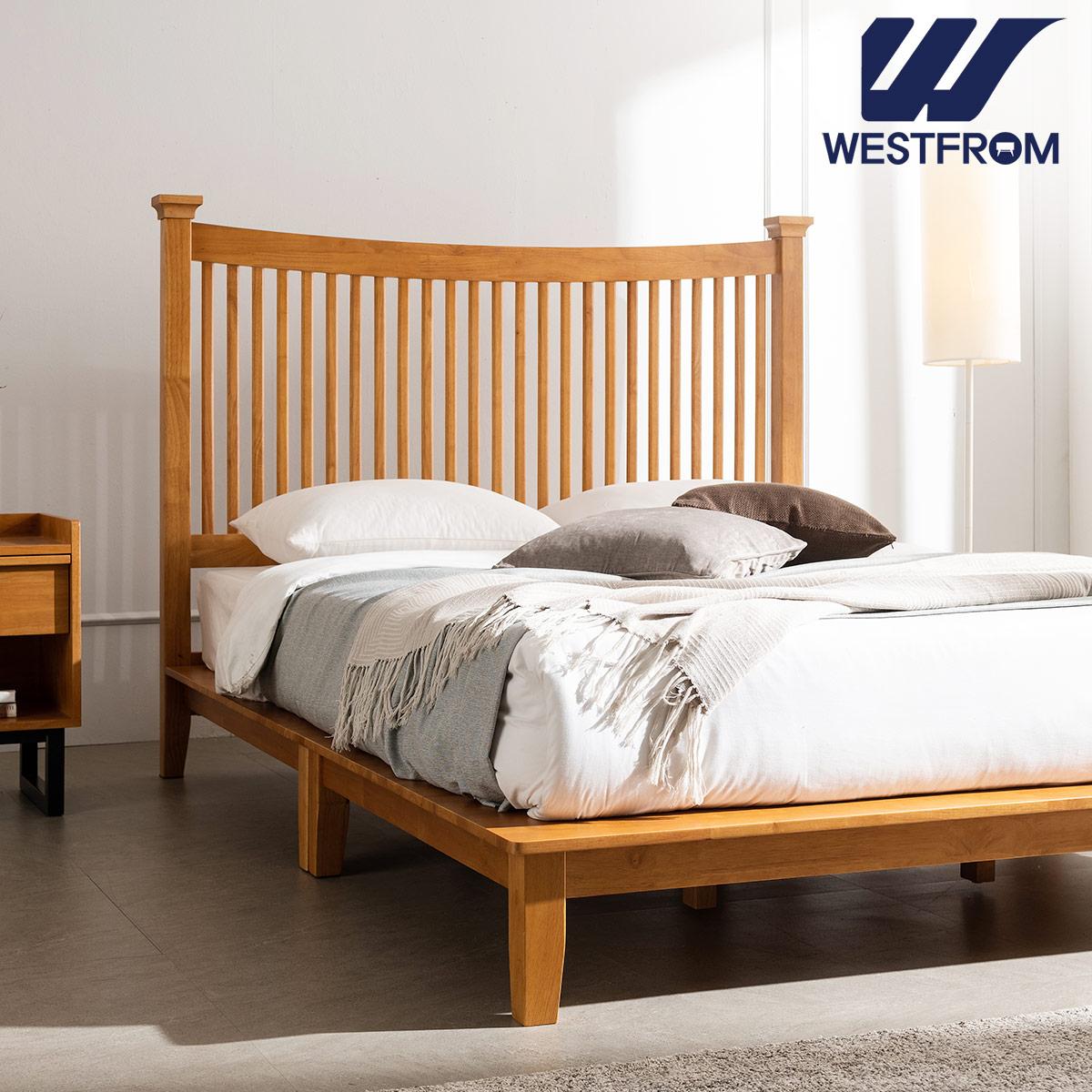 [웨스트프롬] 모던 마가렛) 고무나무원목 평상형 침대(Q,K공용) / F17 KING 매트리스