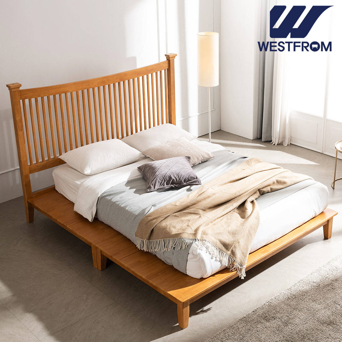 [웨스트프롬] 모던 마가렛) 고무나무원목 평상형 침대(라지K) / F11 QUEEN 매트리스