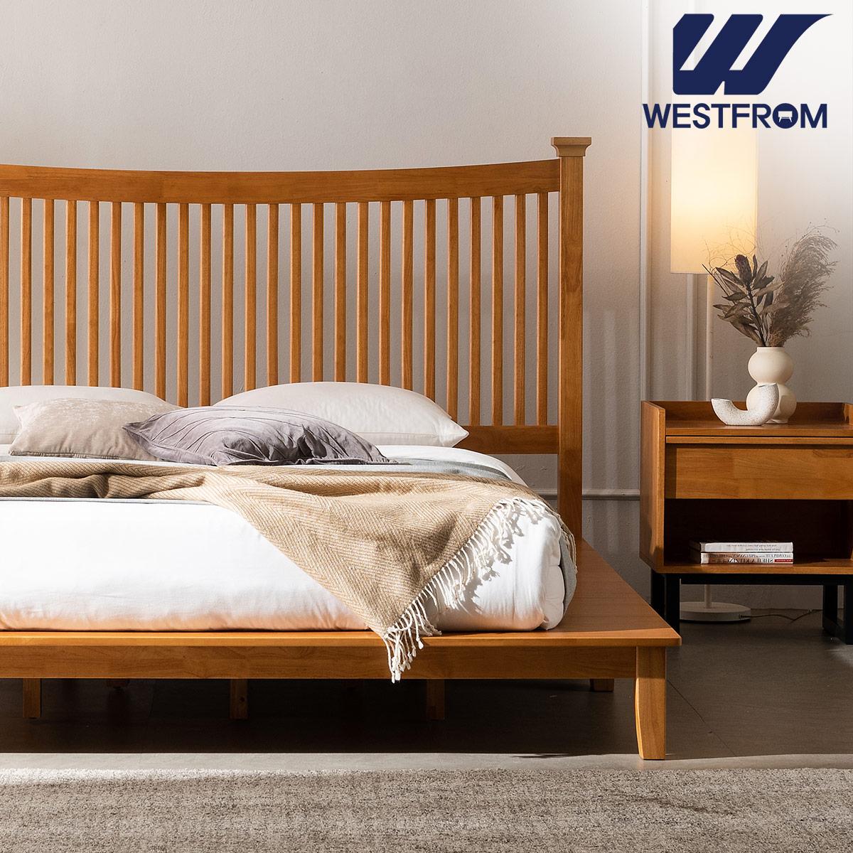 [웨스트프롬] 모던 마가렛) 고무나무원목 평상형 침대(라지K) / 텐더 호수 K매트리스 / 전국착불