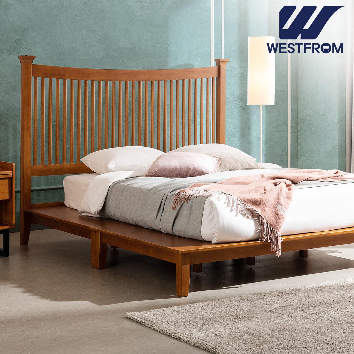 [웨스트프롬] 모던 마가렛) 고무나무원목 평상형 침대(라지K) / 텐더 리버 K매트리스 / 전국착불