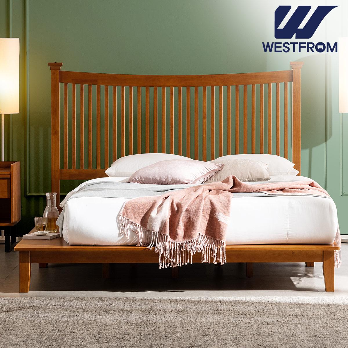 [웨스트프롬] 모던 마가렛) 고무나무원목 평상형 침대(라지K) / 텐더 바다 K매트리스 / 전국착불