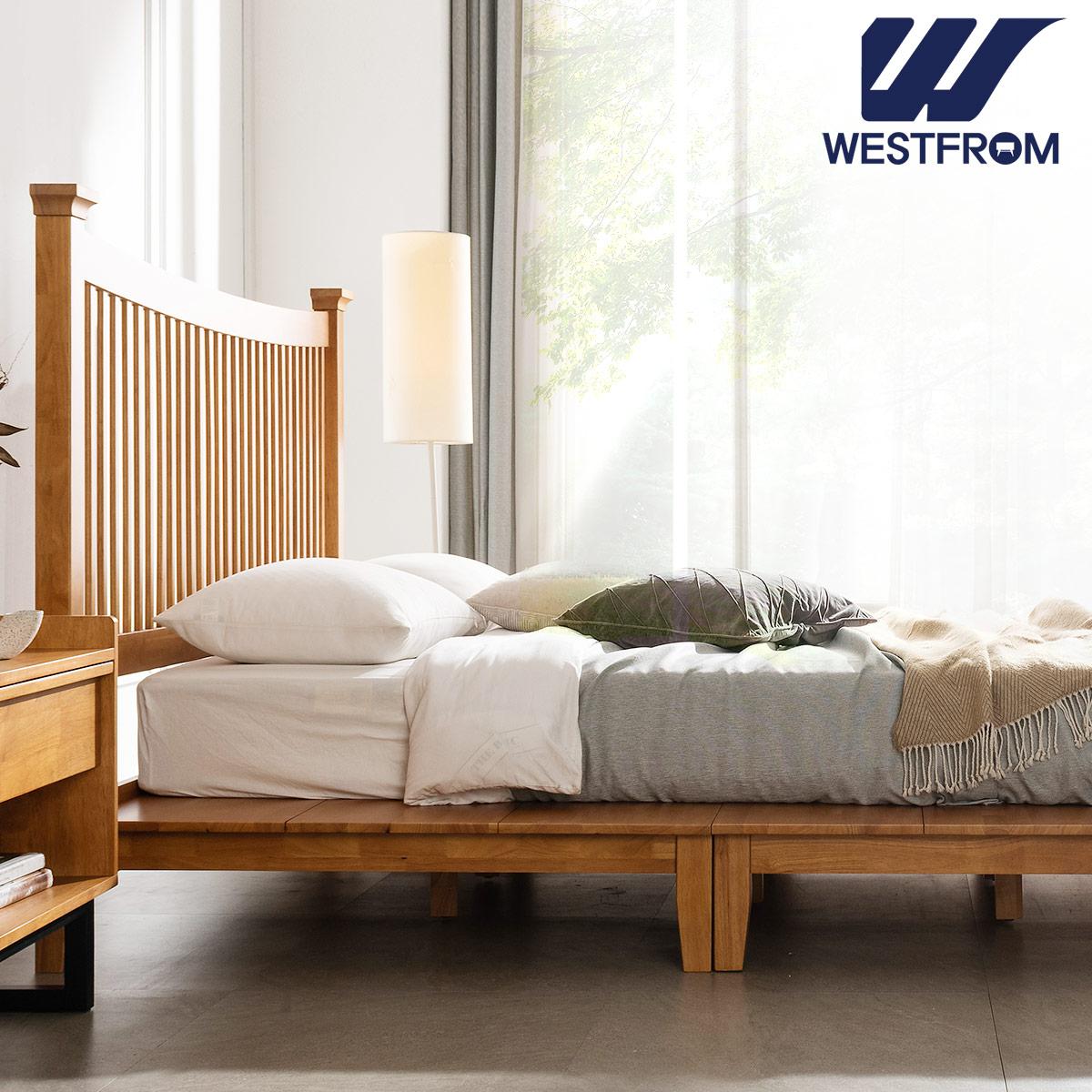 [웨스트프롬] 모던 마가렛) 고무나무원목 평상형 침대(라지K) / 텐더 호수 라지K매트리스 / 전국착불