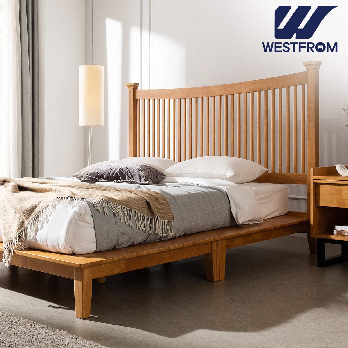 [웨스트프롬] 모던 마가렛) 고무나무원목 평상형 침대(라지K) / 텐더 리버 라지K매트리스 / 전국착불